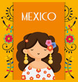 cute woman with flowers in head mexico traditional vector image
