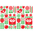 finnish inspired seamless folk art pattern vector image