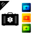 first aid kit and medical symbol emergency vector image
