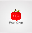 fruit chat logo icon element and template vector image vector image