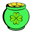 green pot full of gold icon icon cartoon vector image vector image