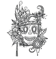 Hand drawn skull in flowers and vector image vector image