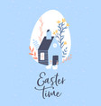 happy easter card spring farm house with rabbits vector image vector image