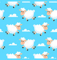 happy sleeping sheeps fabric background dreamy vector image