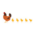 hen with chickens white background isolated vector image vector image