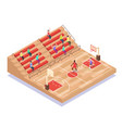 isometric basketball court players and fans flat vector image