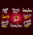 lettering stand up calligraphic text comedy show vector image