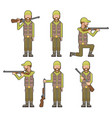 male hunter gun weapon hands characters icons vector image
