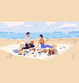 man and woman drinking wine and eating at seaside vector image vector image
