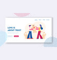 man and woman in love relation website landing vector image vector image