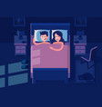 man and woman sleeping in bed vector image vector image