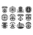 nautical set of twelve vintage emblems vector image vector image