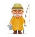 Old Fisherman Grandfather 3d Realistic Cartoon vector image vector image
