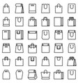 paper bag icon set line style