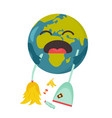 poster upset planet sweeping garbage vector image vector image