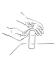 pouring sanitizer alcohol gel onto hand for clean vector image