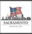 sacramento city skyline detailed silhouette on usa