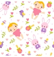 Seamless girl baby pattern vector image