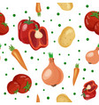 seamless pattern with different vegetables vector image vector image