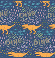 seamless pattern with dinosaur on a dark vector image