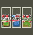 set gambling layouts vector image vector image