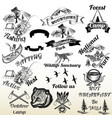 set of outdoor camping and mountains typography vector image