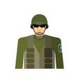 soldier portrait military in protective helmet vector image vector image