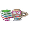 student with book planet saturn above the sky vector image