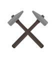 two hammers crossed with each other vector image vector image