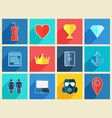 various flat design icons with long shadow effect vector image