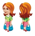 Woman buyer with shopping bags character vector image