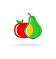 Apple and pear logo vector image vector image