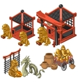 Architecture deities and decor in Asian style vector image vector image