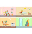 beauty salon with clients and equipment cartoon vector image vector image