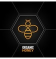 Bee logo on honeycomb background vector image vector image
