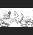 black and white coloring page hen in the farm vector image
