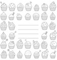 black and white greeting card or cupcakes cover vector image vector image