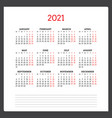 calendar for 2021 year week starts on monday vector image vector image