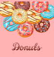 card with glaze donuts and sprinkles vector image vector image