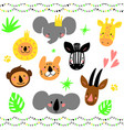cartoon jungle animal heads set modern concept of vector image