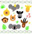 cartoon jungle animal heads set modern concept