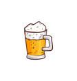 cartoon mug of golden beer with foam vector image vector image