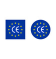 ce europe mark logo for european certificate icon vector image vector image