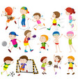 children doing different activities vector image vector image