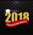 congratulations on graduation 2018 class vector image vector image