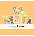 Easter colorful orange card with carrots and vector image vector image