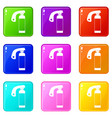 fire extinguisher icons 9 set vector image vector image
