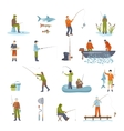 Fishing People Fish And Tools Icons Set vector image