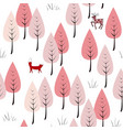 forest background with animals and trees seamless vector image