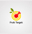 fruit target logo icon element and template vector image vector image